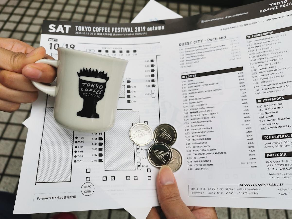 東京コーヒーフェスティバルの受付でミニマグカップとコインを購入